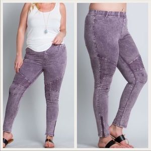 LILAC PANTS WITH ZIP ANKLE DETAIL